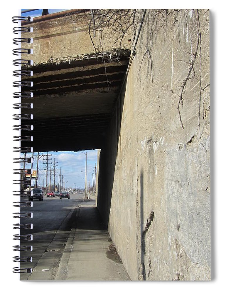Concrete. Bridge Spiral Notebook featuring the photograph Urban Decay Train Bridge 2 by Anita Burgermeister