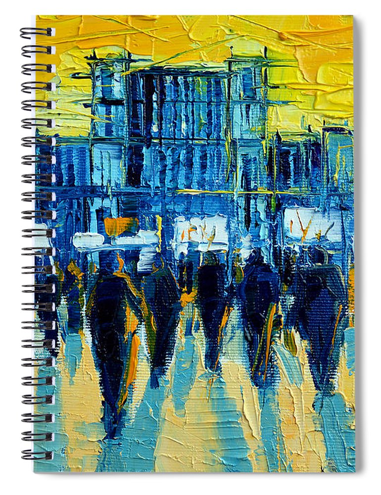 Urban Story The Romanian Revolution Spiral Notebook featuring the painting Urban Story - The Romanian Revolution by Mona Edulesco