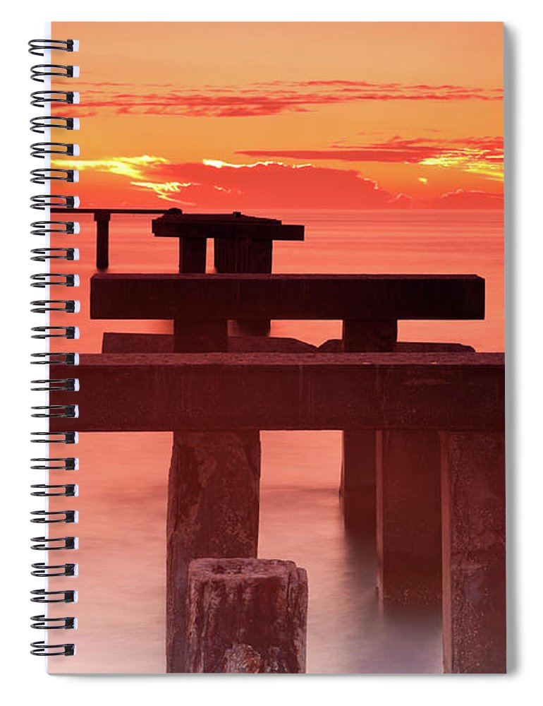 Tranquility Spiral Notebook featuring the photograph Usa, Florida, Boca Grande, Ruined Pier by Henryk Sadura