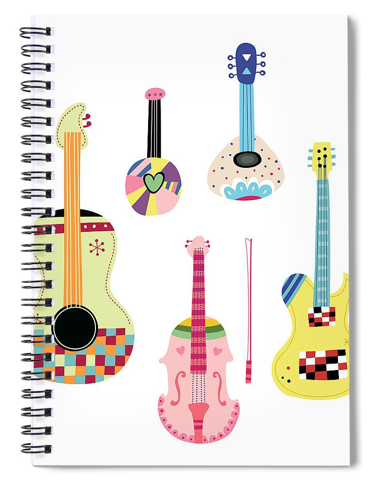 White Background Spiral Notebook featuring the digital art Various Kinds Of Stringed Instruments by Eastnine Inc.