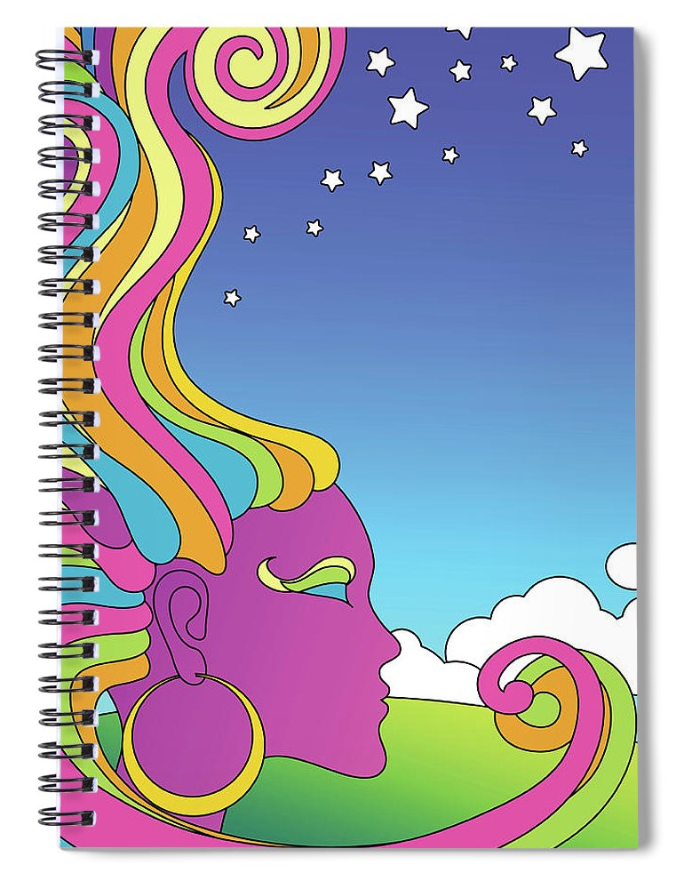 Rock Music Spiral Notebook featuring the digital art Vector Illustration Of Psychedelic by Teddyandmia