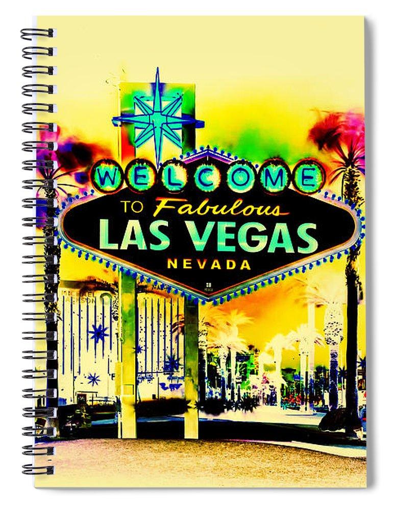 Las Vegas Spiral Notebook featuring the digital art Vegas Weekends by Az Jackson