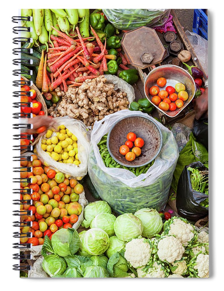 Trading Spiral Notebook featuring the photograph Vegetable Stall, Pushkar, Rajasthan by Peter Adams