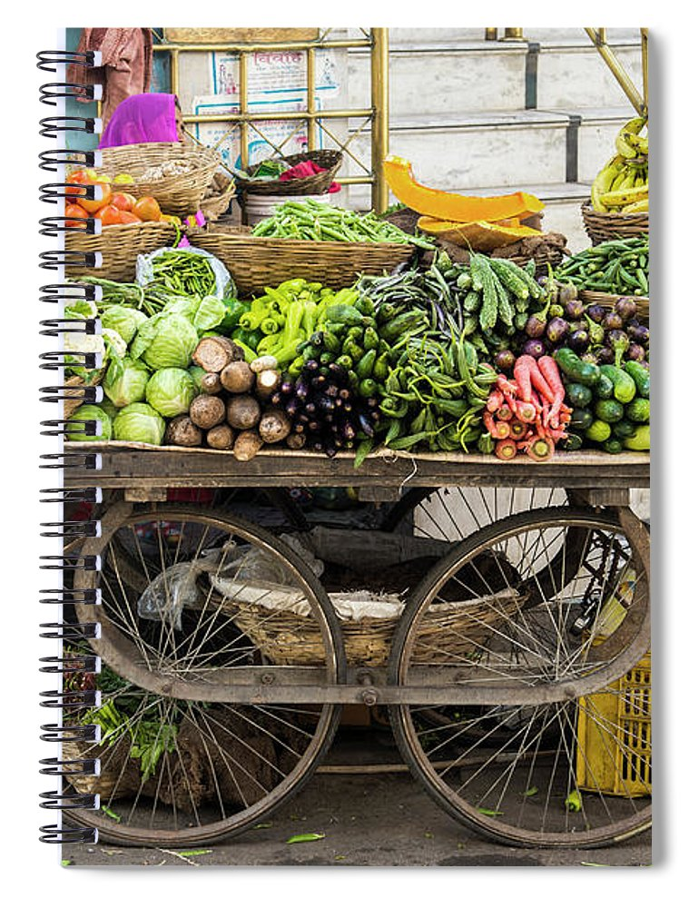 Retail Spiral Notebook featuring the photograph Vegetable Trolley, Udaipur, Rajasthan by John Harper