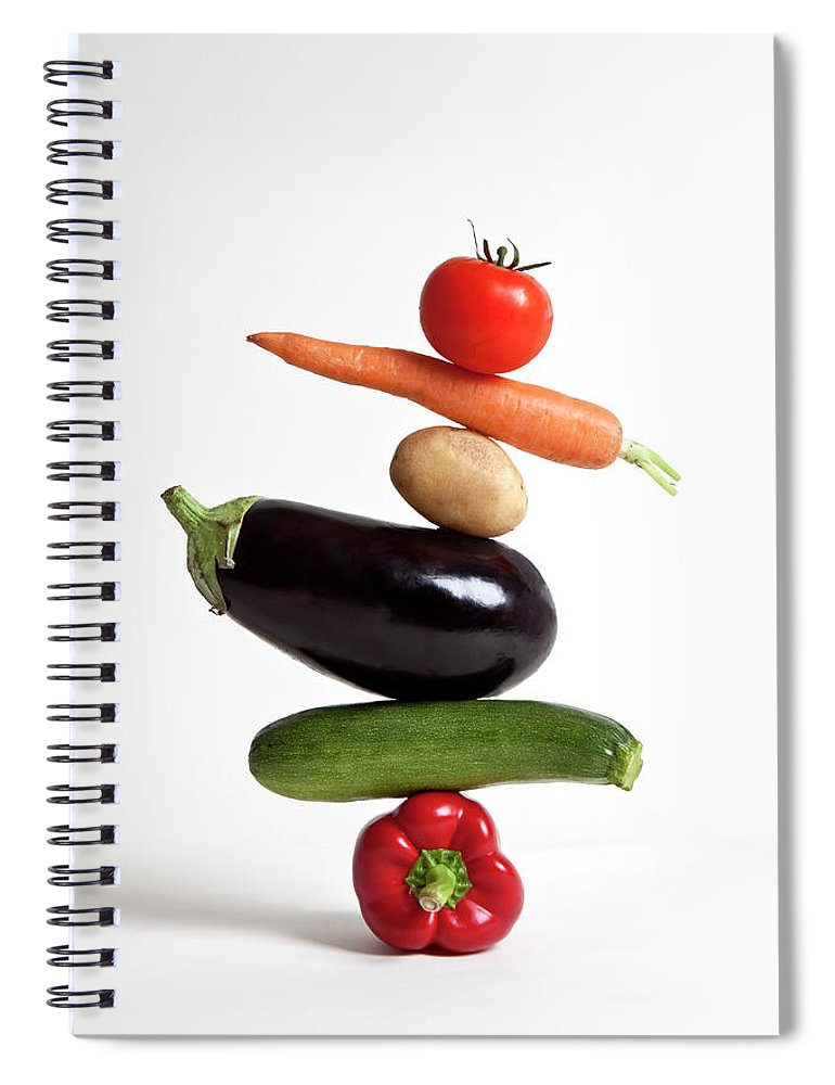 Shadow Spiral Notebook featuring the photograph Vegetables Arranged In A Stack by Halfdark