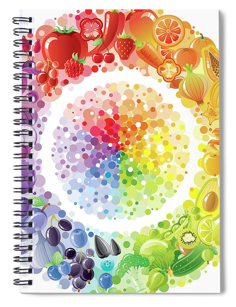 Nut Spiral Notebook featuring the digital art Vegetarian Rainbow Plate Withe Fruits by O-che