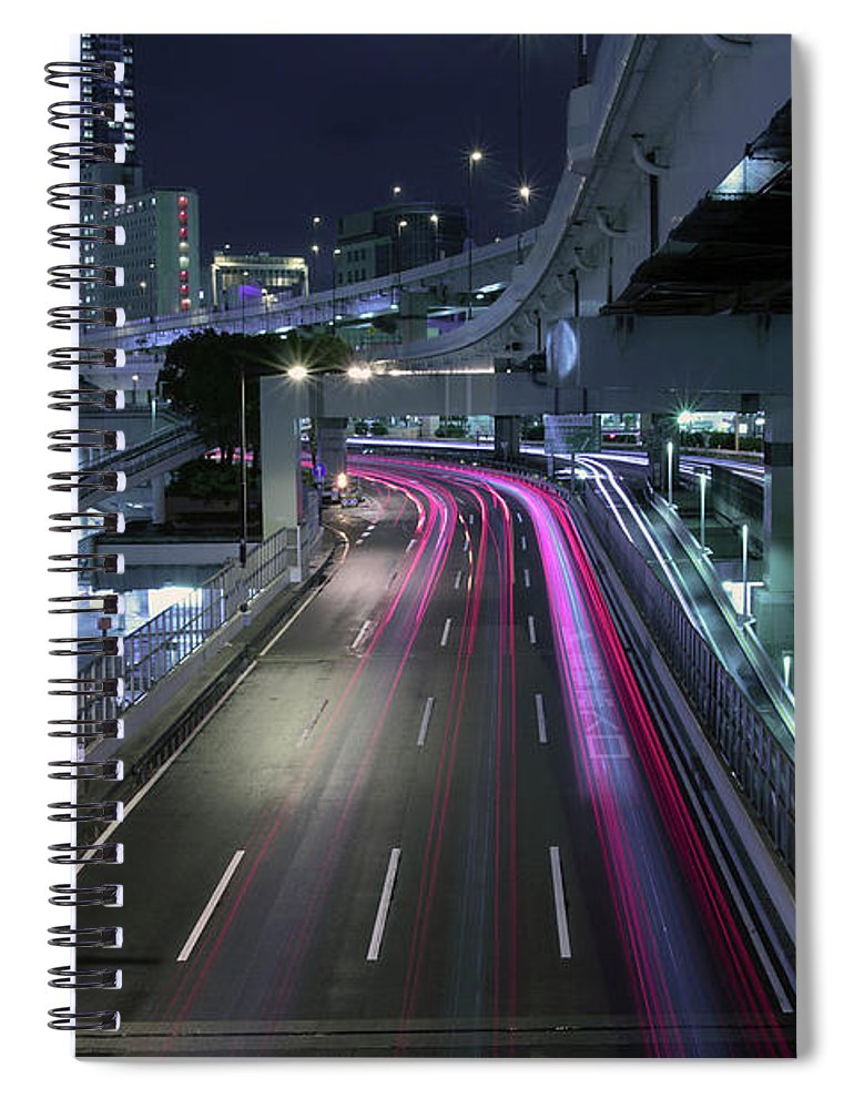 Yokohama Spiral Notebook featuring the photograph Vehicle Light Trails On National Route 1 by Digipub