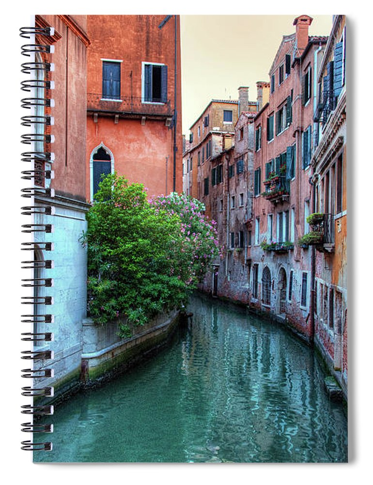 Tranquility Spiral Notebook featuring the photograph Venice Canals by Emad Aljumah