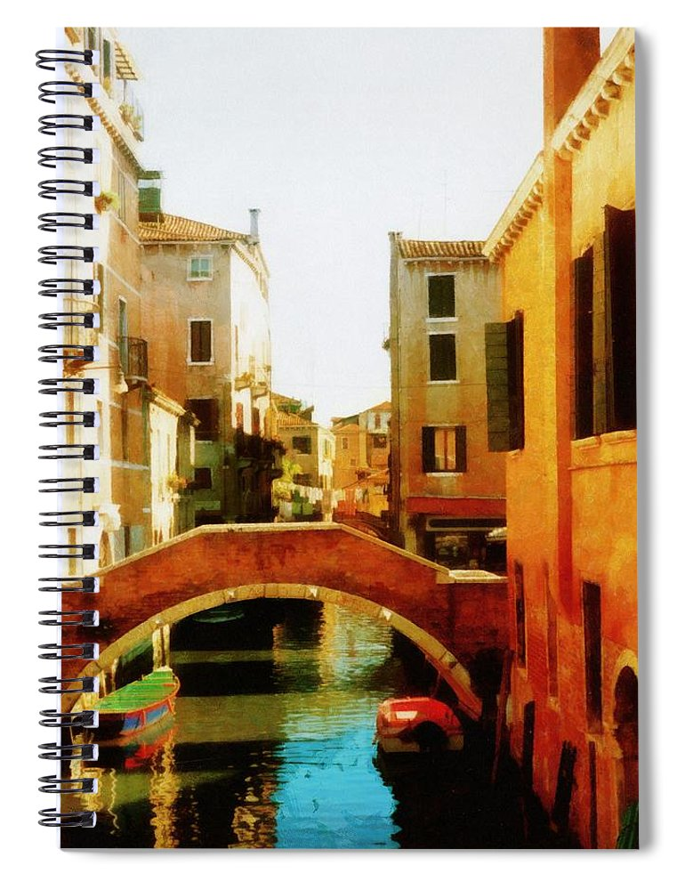 Venice Spiral Notebook featuring the photograph Venice Italy Canal With Boats And Laundry by Michelle Calkins