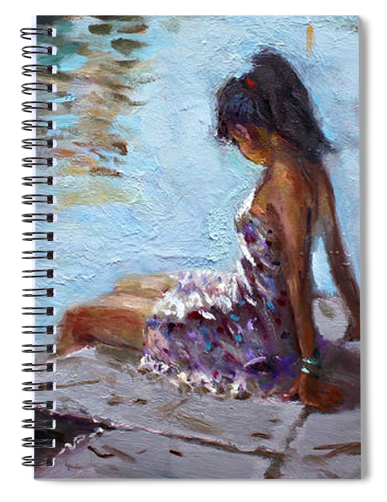 Reflections Spiral Notebook featuring the painting Venice Reflections by Ylli Haruni