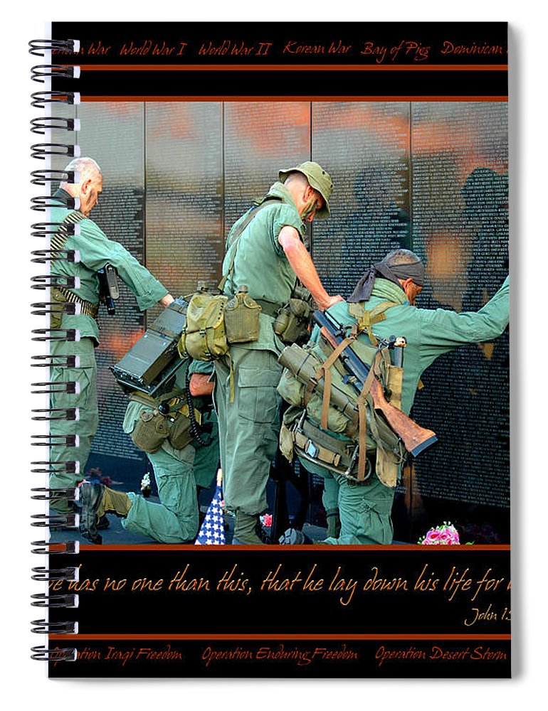 Veterans Spiral Notebook featuring the photograph Veterans At Vietnam Wall by Carolyn Marshall