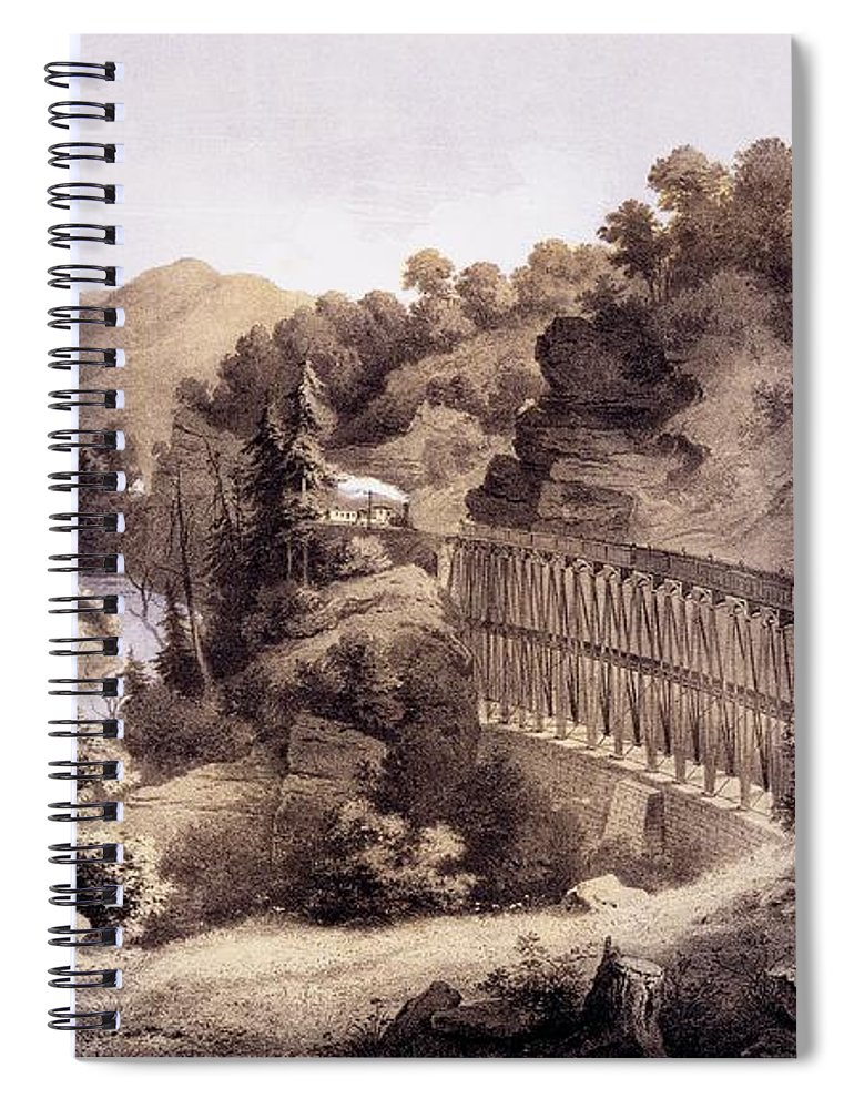 Cheat River Spiral Notebook featuring the drawing Viaduct On Cheat River, From Album by Edward Beyer