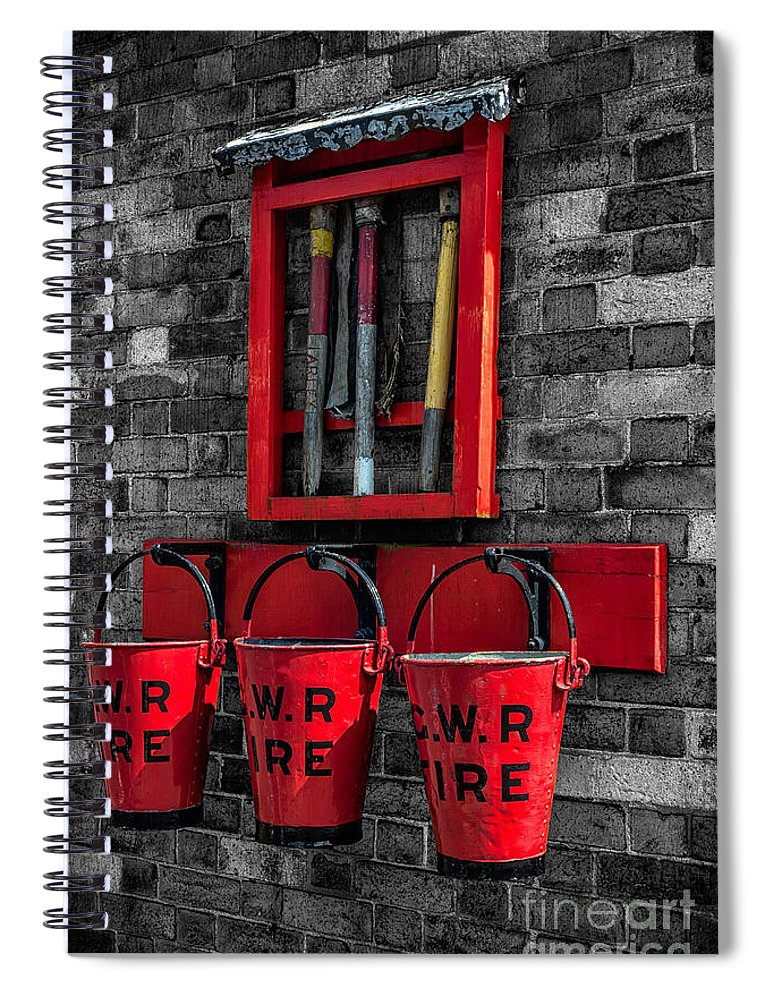 British Spiral Notebook featuring the photograph Victorian Fire Buckets by Adrian Evans
