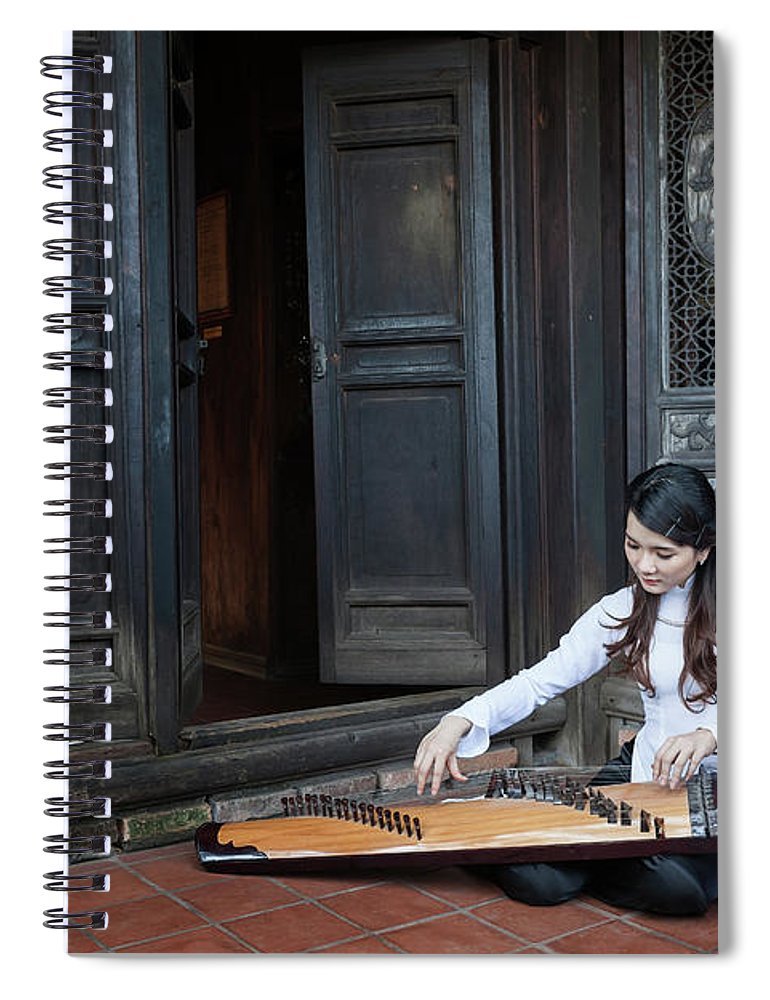 Three Quarter Length Spiral Notebook featuring the photograph Vietnamese Ao Dai Playing Orchestra by Jethuynh