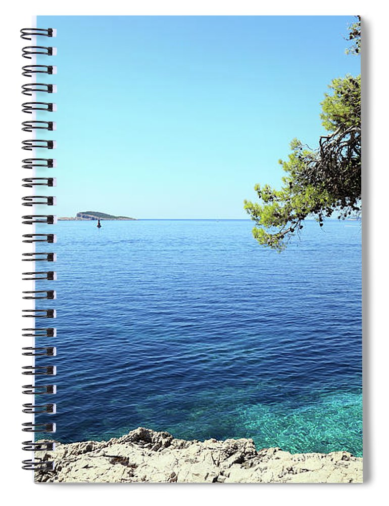 Water's Edge Spiral Notebook featuring the photograph View Of Dubrovnik From Cavtat Peninsula by Vuk8691
