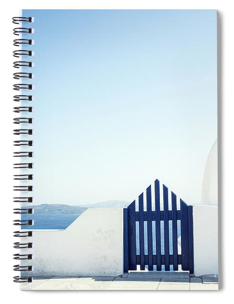 Scenics Spiral Notebook featuring the photograph View Of Ocean From Balcony, Greece by Gollykim