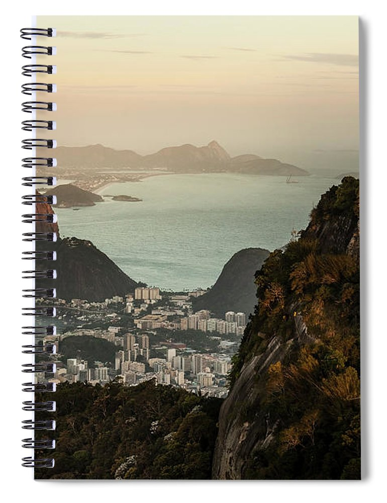 Outdoors Spiral Notebook featuring the photograph View Of Rio De Janeiro At Sunset by Christian Adams