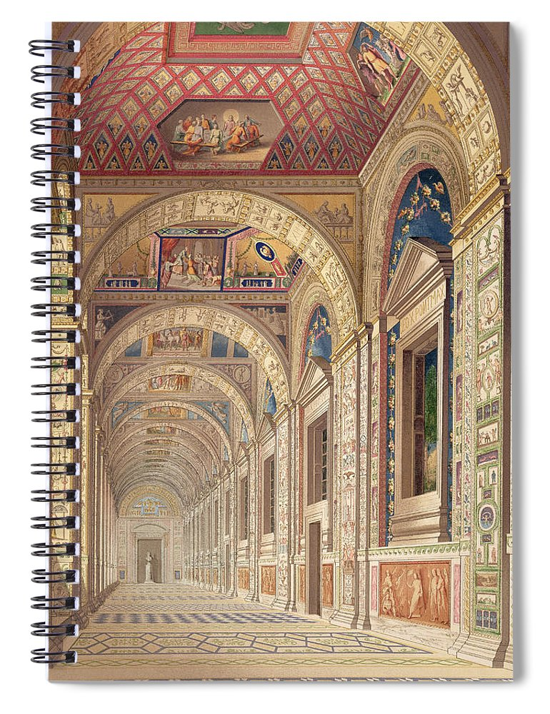Renaissance Design Spiral Notebook featuring the drawing View Of The Second Floor Loggia by Italian School