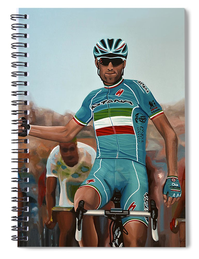 Vincenzo Nibali Spiral Notebook featuring the painting Vincenzo Nibali Painting by Paul Meijering