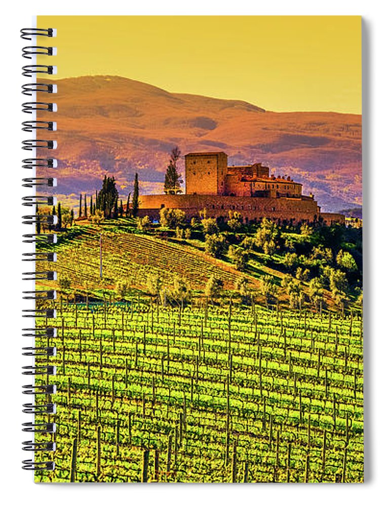 Scenics Spiral Notebook featuring the photograph Vineyard In Tuscany by Deimagine