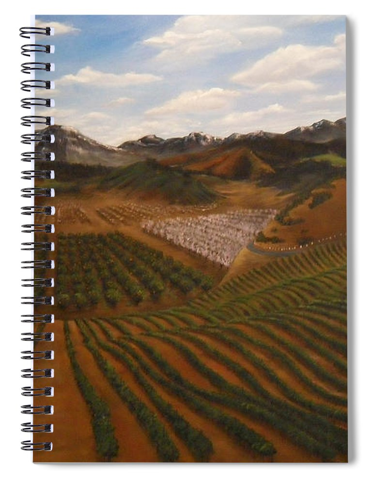 Vineyard Spiral Notebook featuring the painting Vineyard by Travis Day
