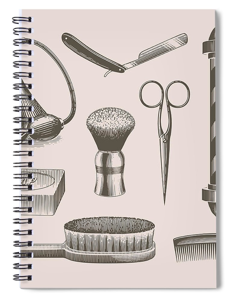 English Culture Spiral Notebook featuring the digital art Vintage Barbershop Objects by Darumo