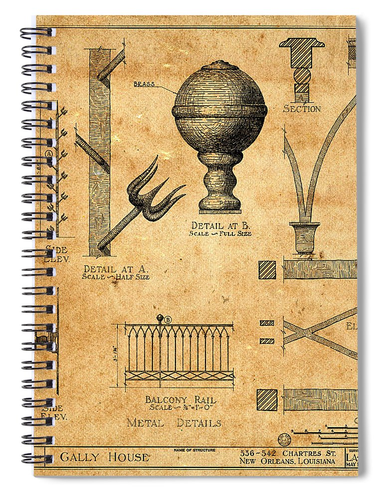 Vintage blueprints 1 spiral notebook for sale by andrew fare blueprint spiral notebook featuring the photograph vintage blueprints 1 by andrew fare malvernweather Image collections