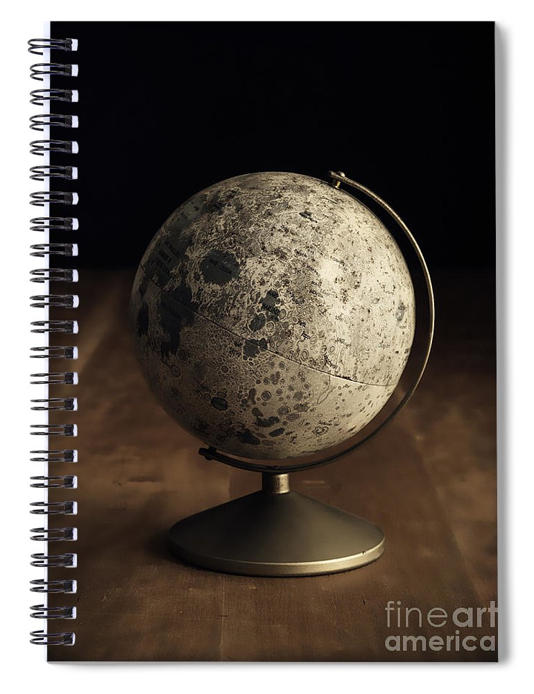 Vintage Spiral Notebook featuring the photograph Vintage Moon Globe by Edward Fielding