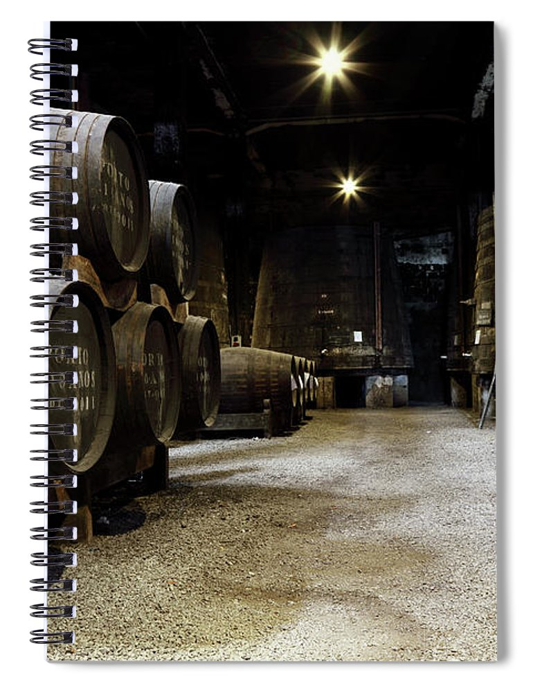 Desaturated Spiral Notebook featuring the photograph Vintage Porto Wine Cellar by Vuk8691