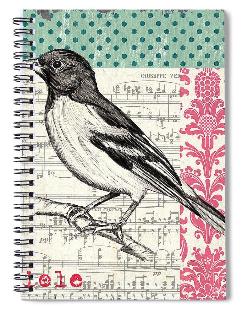 Bird Spiral Notebook featuring the painting Vintage Songbird 2 by Debbie DeWitt