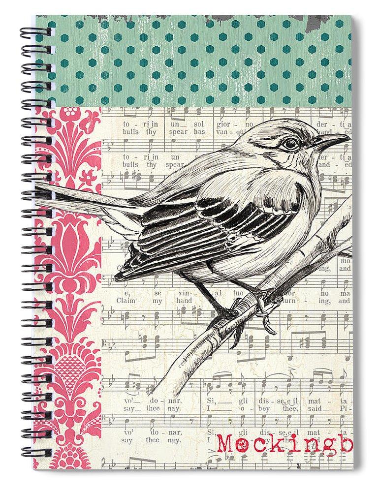 Bird Spiral Notebook featuring the painting Vintage Songbird 4 by Debbie DeWitt