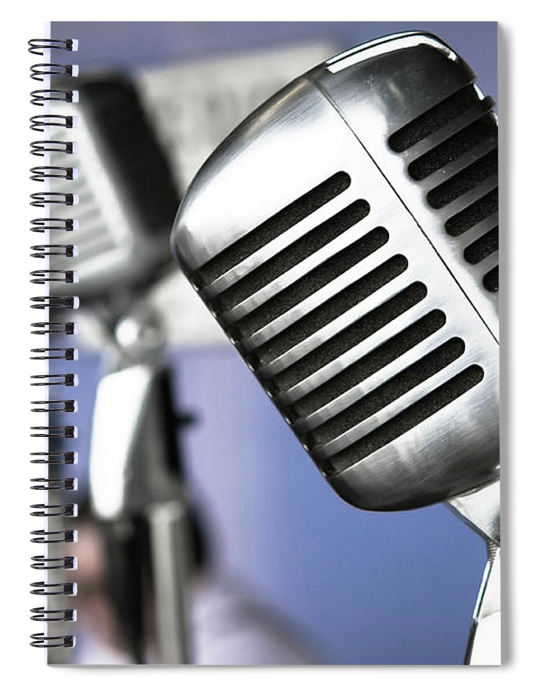Music Spiral Notebook featuring the photograph Vintage Standing Radio Microphones by Photo By Brian T. Evans