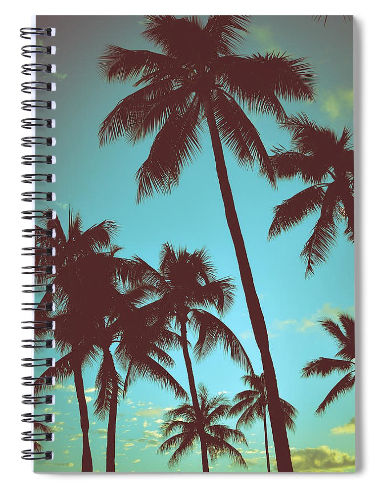 Aged Spiral Notebook featuring the photograph Vintage Tropical Palms by Mr Doomits