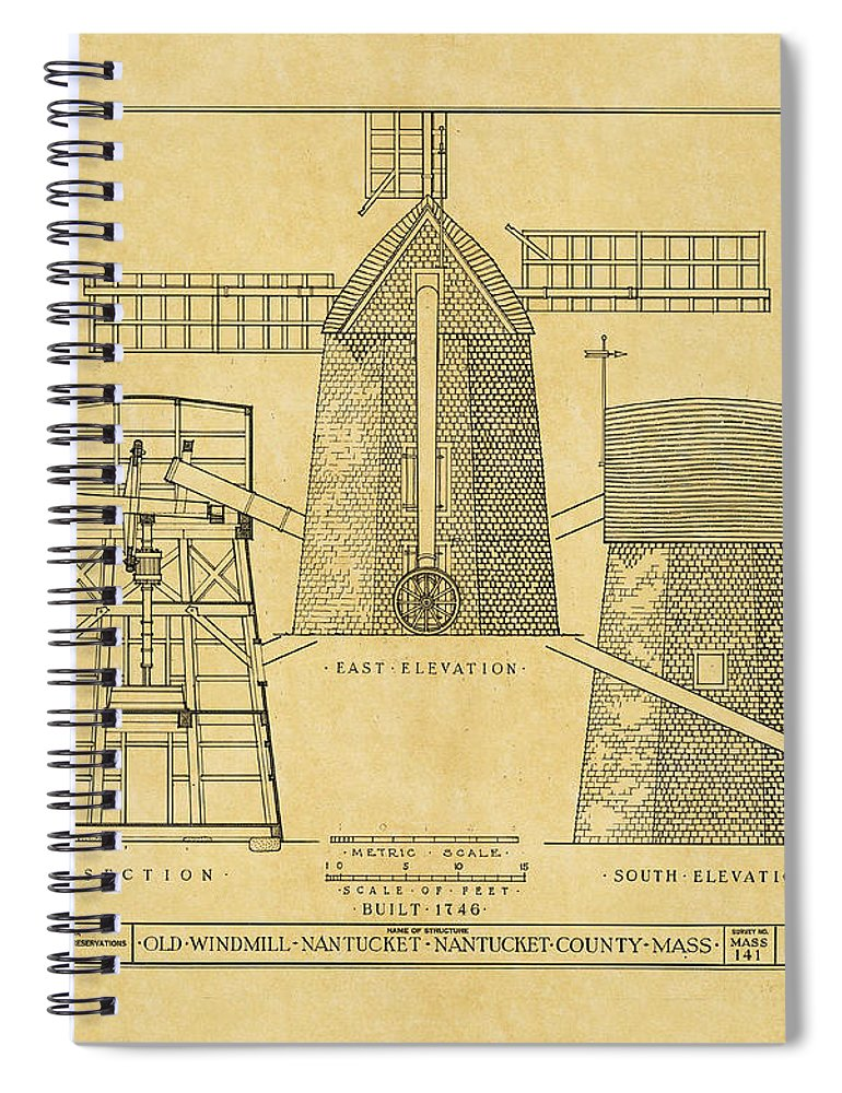 Vintage windmill blueprint spiral notebook for sale by andrew fare windmill spiral notebook featuring the photograph vintage windmill blueprint by andrew fare malvernweather Choice Image