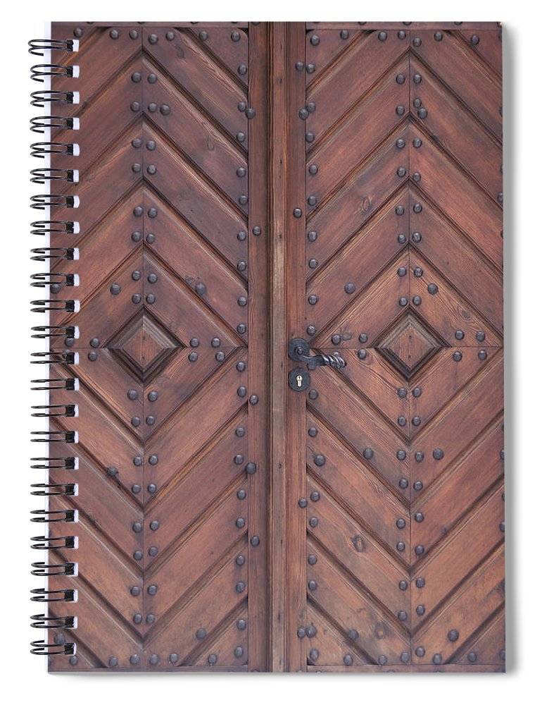 Material Spiral Notebook featuring the photograph Vintage Wooden Brown Door Close-up by Bogdan Khmelnytskyi