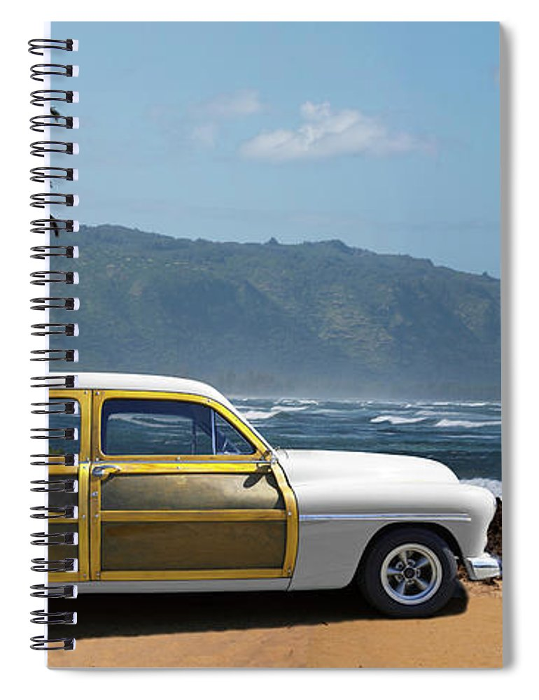Haleiwa Spiral Notebook featuring the photograph Vintage Woody On Hawaiian Beach by Ed Freeman