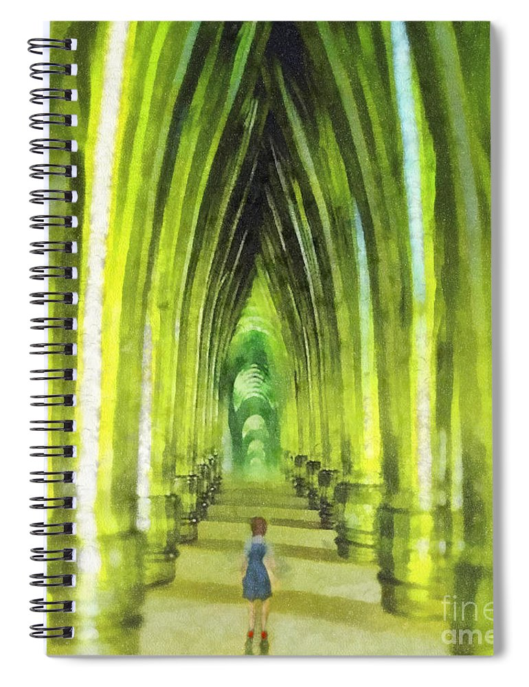 Visiting Emerald City Spiral Notebook featuring the painting Visiting Emerald City by Mo T