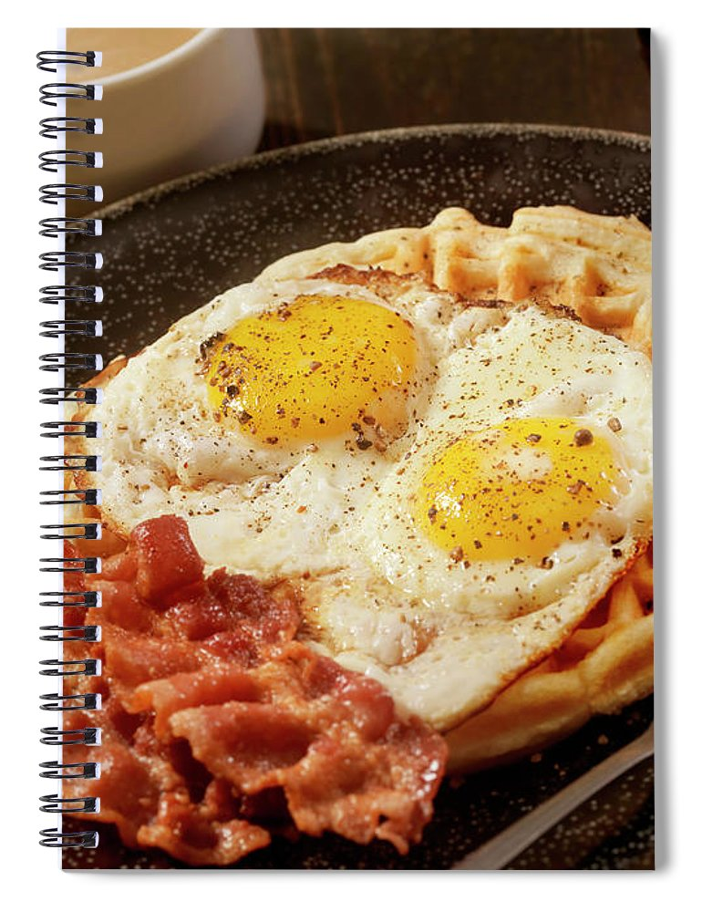 Breakfast Spiral Notebook featuring the photograph Waffles With Fried Eggs And Bacon by Lauripatterson