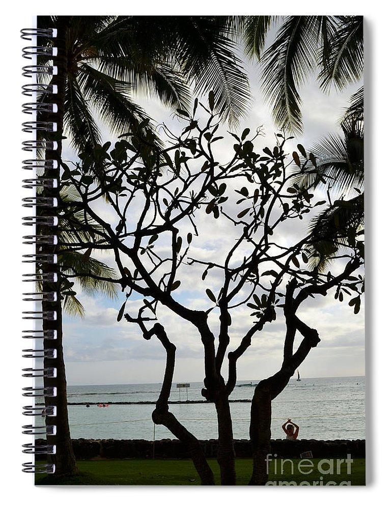 Hawaii Spiral Notebook featuring the digital art Waikiki Beach Hawaii Usa by Eva Kaufman