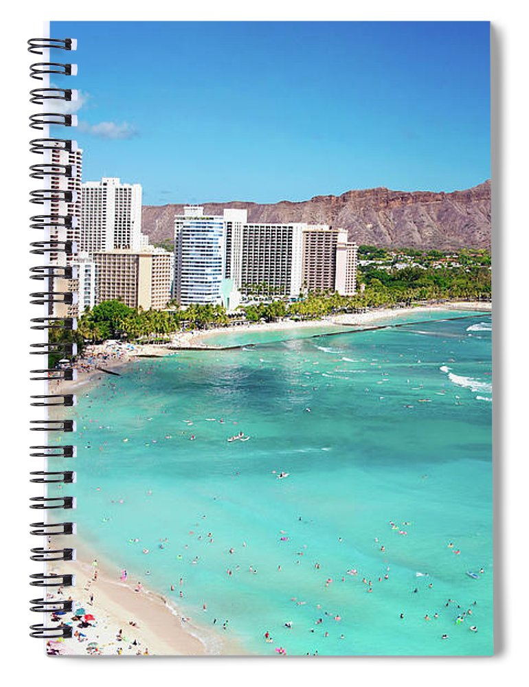 Water's Edge Spiral Notebook featuring the photograph Waikiki Beach by M Swiet Productions