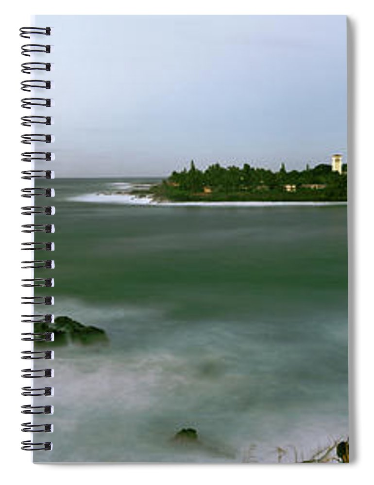 Photography Spiral Notebook featuring the photograph Waimea Bay At Sunset, Oahu, Hawaii, Usa by Panoramic Images