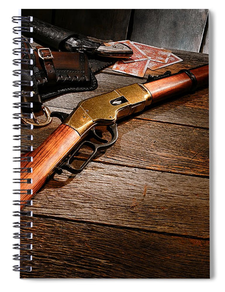Western Spiral Notebook featuring the photograph Waiting For The Gunfight by Olivier Le Queinec