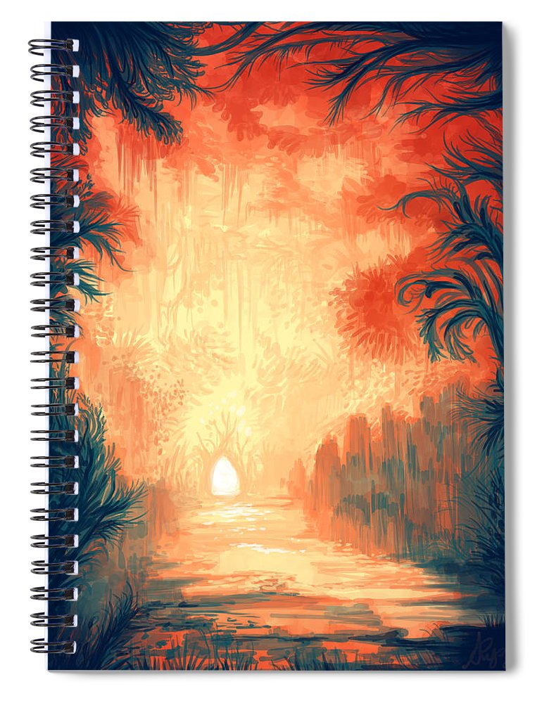 Outdoors Spiral Notebook featuring the digital art Walk Away by Illustrations By Annemarie Rysz