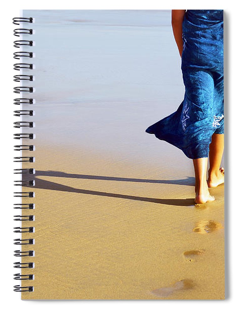 Activity Spiral Notebook featuring the photograph Walking On The Beach by Carlos Caetano