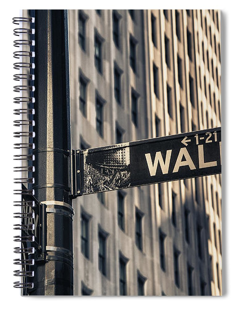 Wall Street Sign Spiral Notebook featuring the photograph Wall Street Sign by Garry Gay