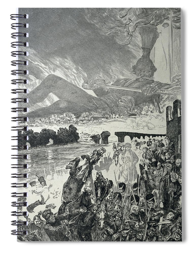 Anti-war Spiral Notebook featuring the drawing War 1910 by Max Klinger