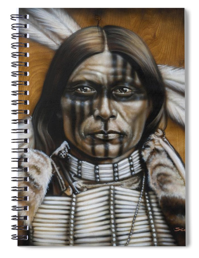 Native American Spiral Notebook featuring the painting Warpaint by Timothy Scoggins