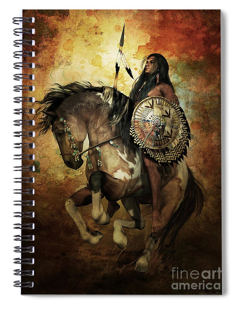 Courage Spiral Notebook featuring the digital art Warrior by Shanina Conway