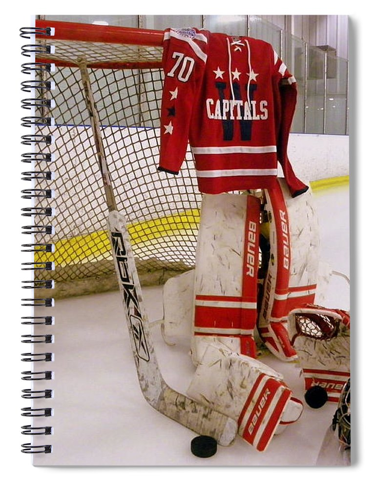 Braden Holtby Spiral Notebook featuring the photograph Washington Capitals  Braden Holtby Winter Classic 2015 Jersey by 0432924d6
