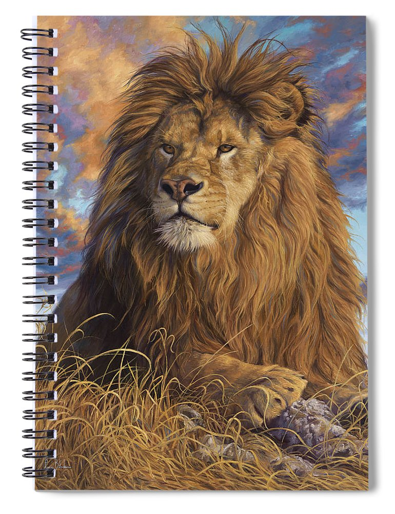 Lion Spiral Notebook featuring the painting Watchful Eyes by Lucie Bilodeau